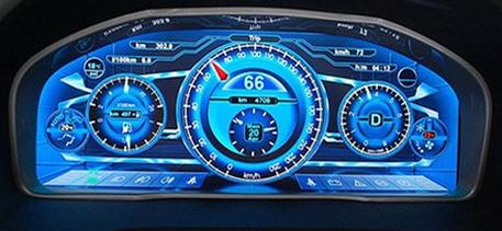 新一代汽车仪表盘,集车速,油量,导航,温度,倒车后视系统,疲劳